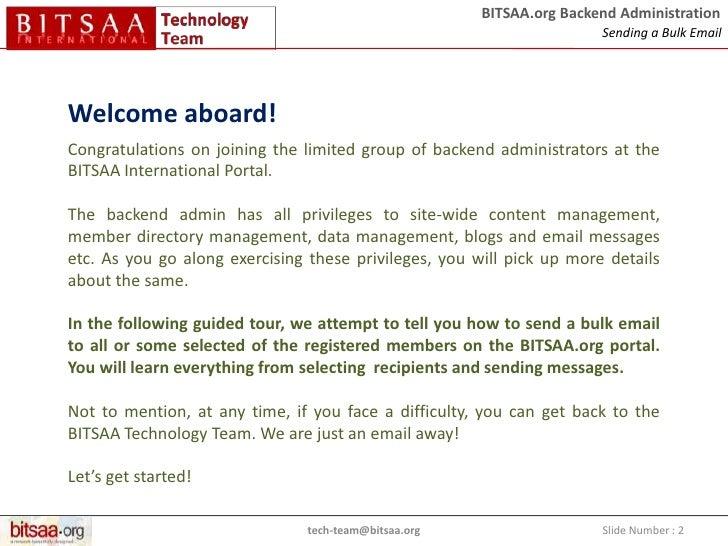 bitsaaorg backend administration sending a bulk email