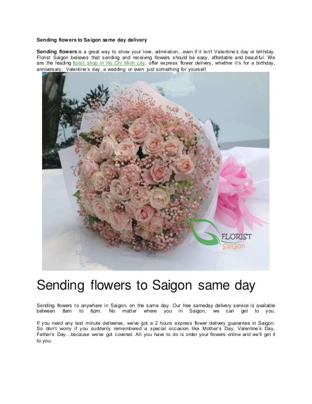 Sending Flowers To Saigon Same Day Delivery