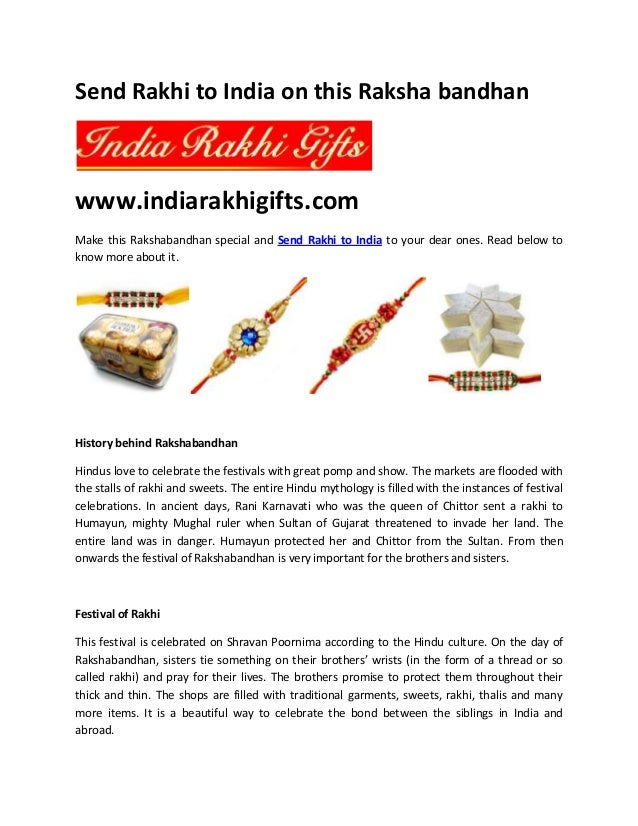 Send Rakhi to India on this Raksha bandhan www.indiarakhigifts.com Make this Rakshabandhan special and Send Rakhi to India...