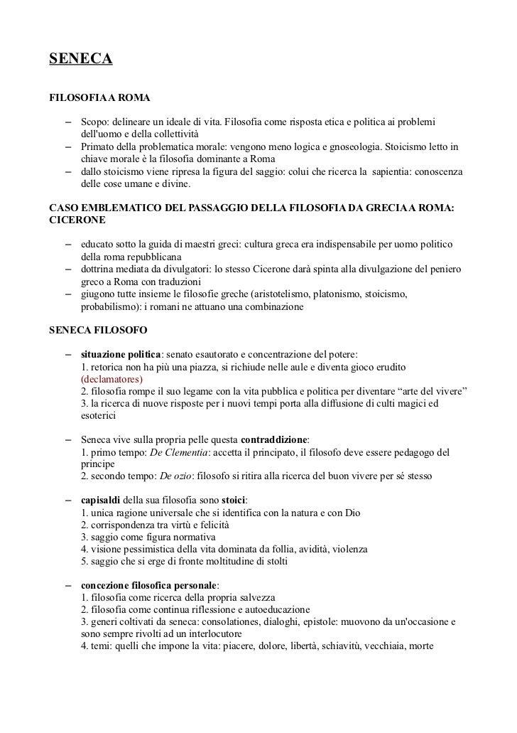 SENECAFILOSOFIA A ROMA  – Scopo: delineare un ideale di vita. Filosofia come risposta etica e politica ai problemi    dell...