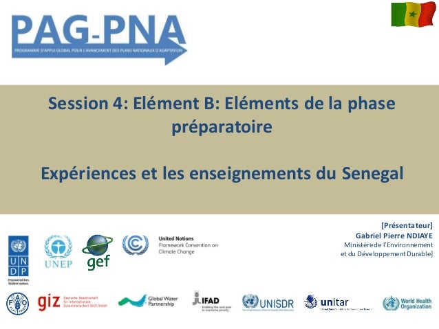 Session 4: Elément B: Eléments de la phase préparatoire Expériences et les enseignements du Senegal [Présentateur] Gabriel...