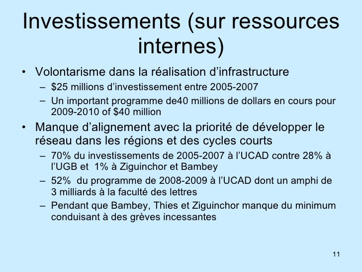 Investissements (sur ressources internes) <ul><li>Volontarisme dans la réalisation d'infrastructure  </li></ul><ul><ul><li...