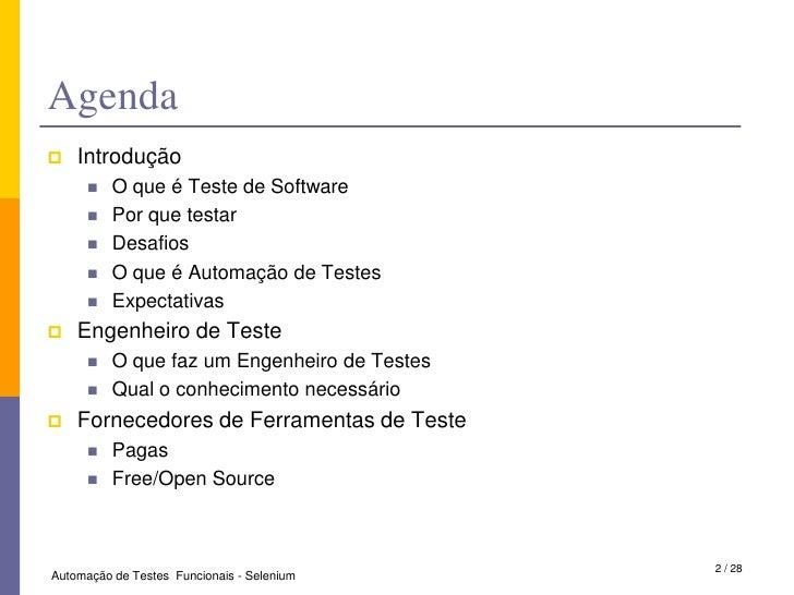 Automação de Teste Funcionais - Selenium Slide 2