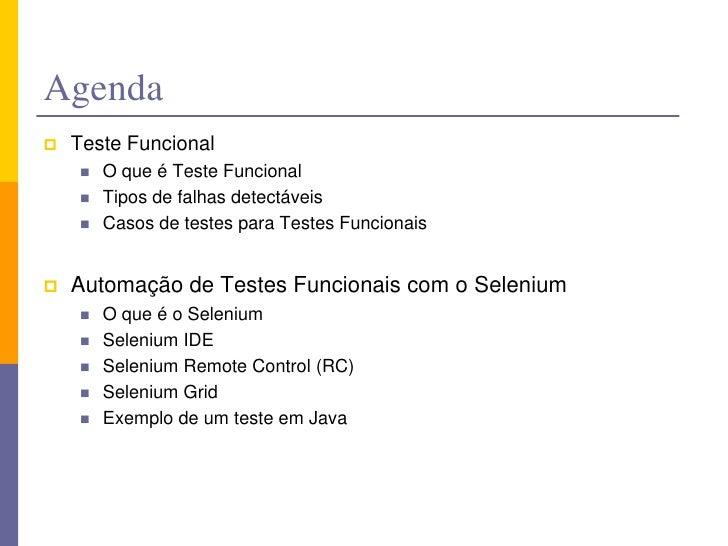 Automação de Teste Funcionais - Selenium Slide 3