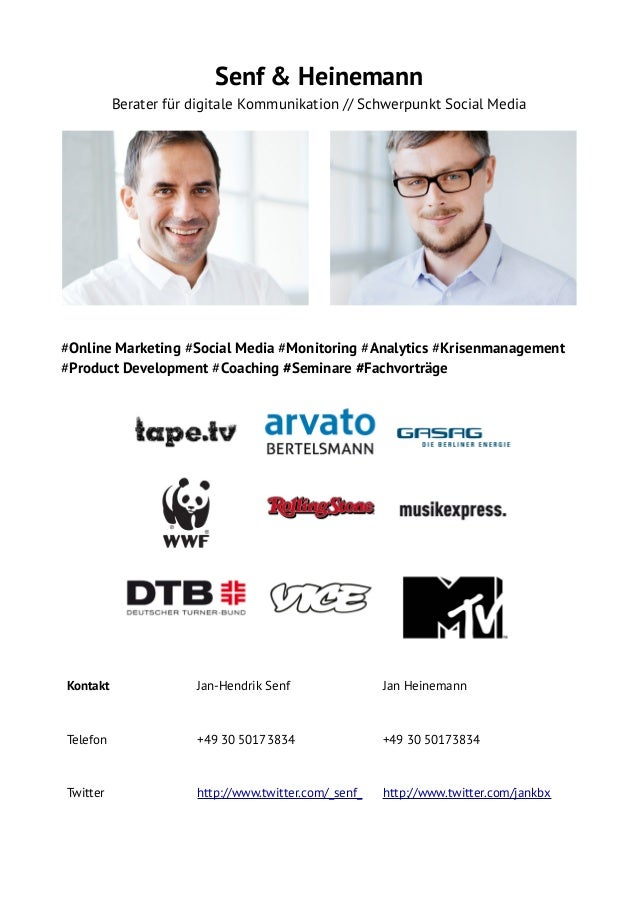 Senf & Heinemann Berater für digitale Kommunikation // Schwerpunkt Social Media  #Online Marketing #Social Media #Monitori...