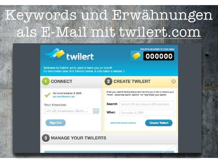 Keywords und Erwähnungen  als E-Mail mit twilert.com