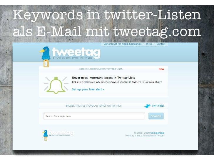 Keywords in twitter-Listen als E-Mail mit tweetag.com