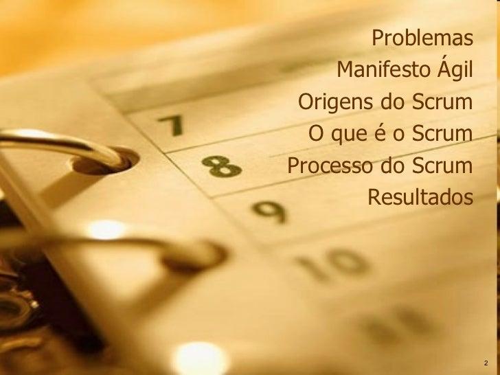 Problemas Manifesto Ágil Origens do Scrum O que é o Scrum Processo do Scrum Resultados