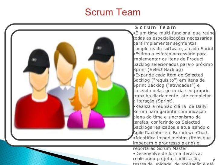 Scrum Team <ul><li>Scrum Team </li></ul><ul><li>É um time multi-funcional que reúne todas as especializações necessárias p...