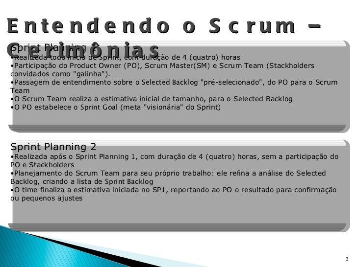 Entendendo o Scrum – Cerimônias <ul><li>Sprint Planning 1 </li></ul><ul><li>Realizada todo início de  Sprint , com duração...