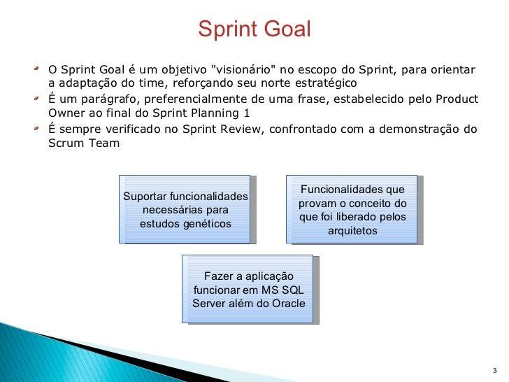 Sprint Goal <ul><li>O Sprint Goal é um objetivo &quot;visionário&quot; no escopo do Sprint, para orientar a adaptação do t...