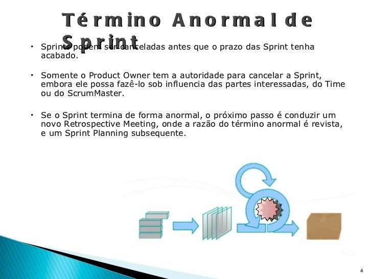 Término Anormal de Sprint <ul><li>Sprints podem ser canceladas antes que o prazo das Sprint tenha acabado. </li></ul><ul><...