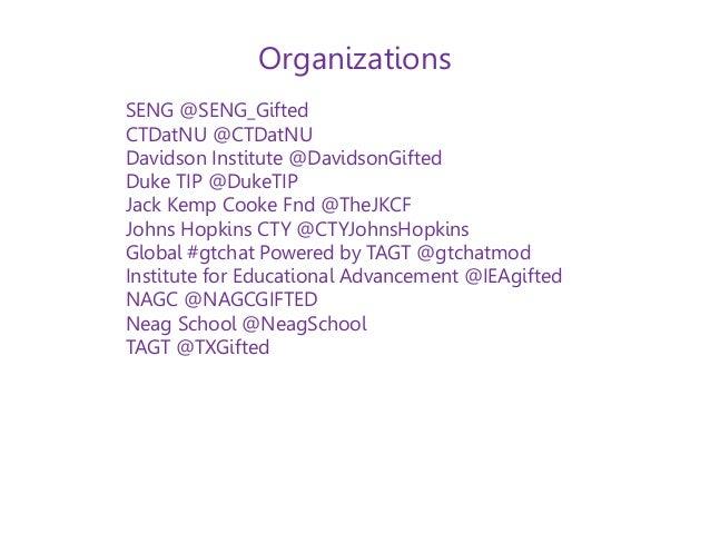 ... Individuals; 60. SENG @SENG_Gifted CTDatNU @CTDatNU Davidson Institute @ DavidsonGifted ...