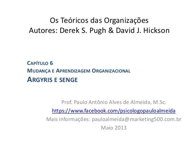 Os Teóricos das Organizações Autores: Derek S. Pugh & David J. Hickson Prof. Paulo Antônio Alves de Almeida, M.Sc. https:/...