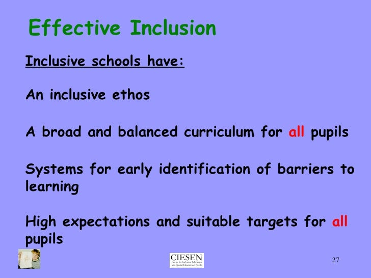 should all children be included in mainstream schools All children of school age in victoria have the right to go to their local school   to comply with the standards, an education provider must make  information  about the disability standards is included in section 46 of the.