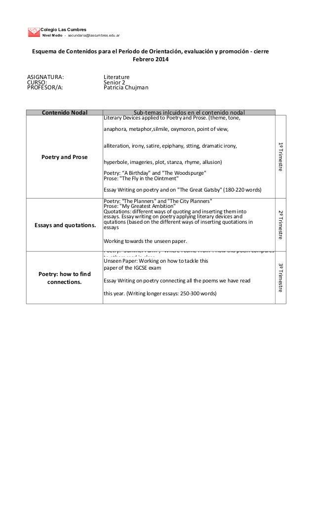 Colegio Las Cumbres Nivel Medio - secundaria@lascumbres.edu.ar  Esquema de Contenidos para el Período de Orientación, eval...