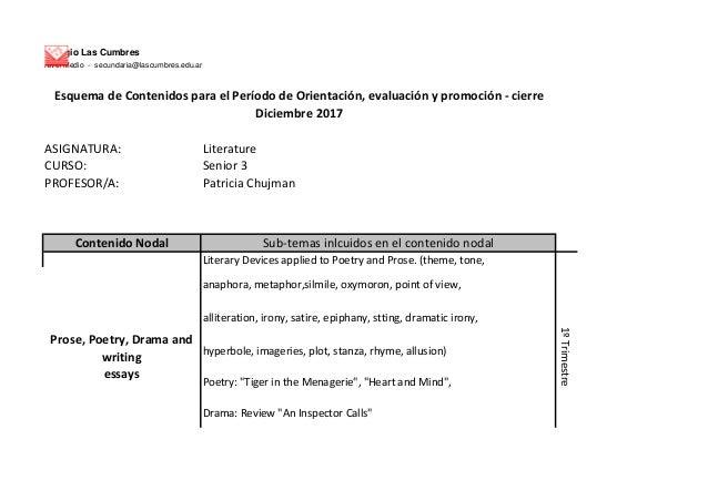 Colegio Las Cumbres Nivel Medio - secundaria@lascumbres.edu.ar ASIGNATURA: Literature CURSO: Senior 3 PROFESOR/A: Patricia...