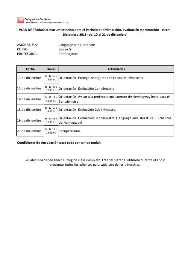 Colegio Las Cumbres Nivel Medio - secundaria@lascumbres.edu.ar ASIGNATURA: Language and Literature CURSO: Senior 5 PROFESO...