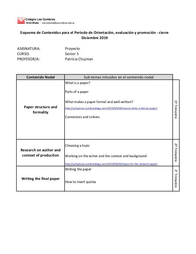 Colegio Las Cumbres Nivel Medio - secundaria@lascumbres.edu.ar ASIGNATURA: Proyecto CURSO: Senior 5 PROFESOR/A: Patricia C...