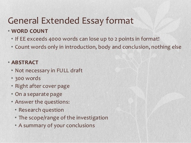 extended essay title Extended essay help why would you need extended essay help if you are looking to pass your international baccalaureate diploma program then you will be aware that a mandatory part of this course if to research and write what is known as the extended essay.