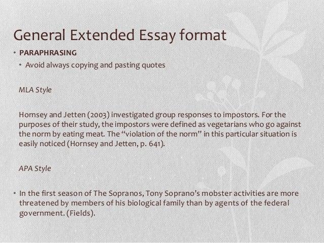 ib extended essay format