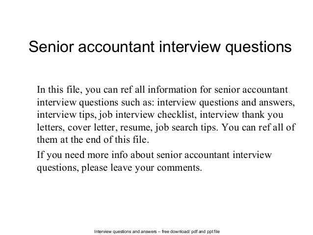 senior manager interview questions and answers pdf
