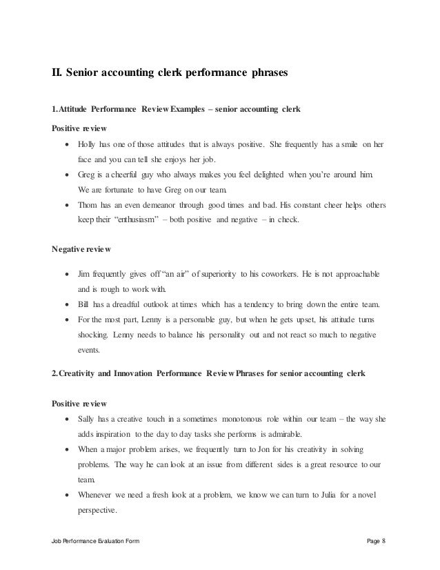 Job Performance Evaluation Form Page 8 II. Senior Accounting Clerk ...