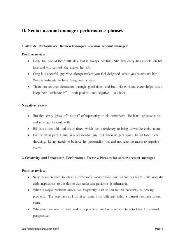 Senior account manager performance appraisal