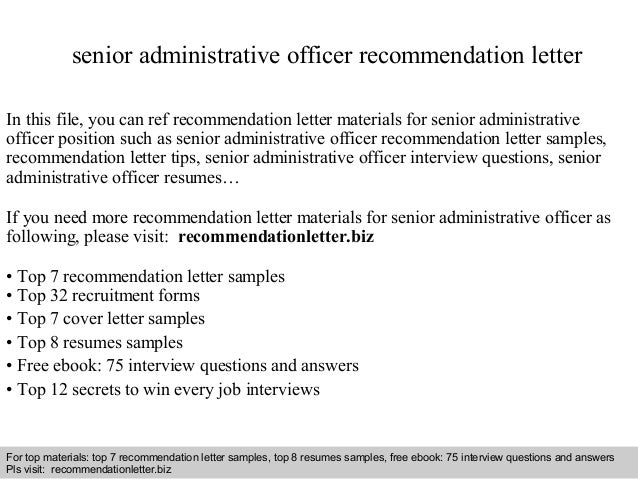 senior administrative officer recommendation letter in this file you can ref recommendation letter materials for recommendation letter sample - Sample Resume For Administrative Officer
