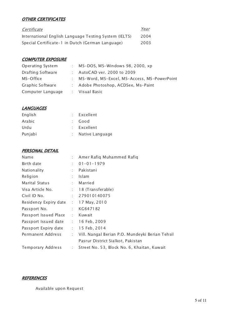 5 - Autocad Engineer Sample Resume
