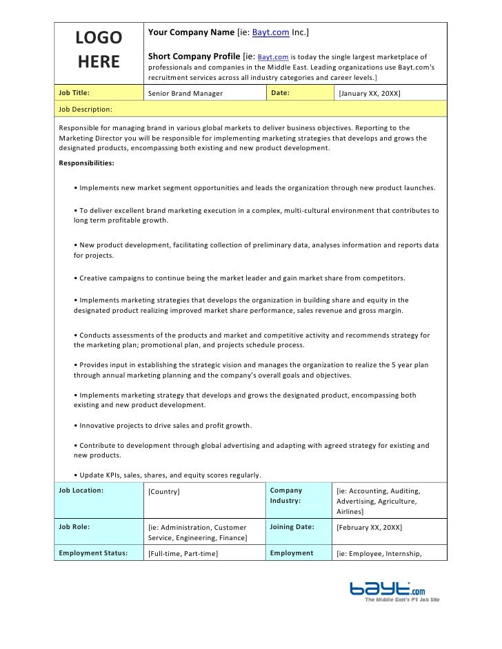 Senior brand manager job description template by for Events manager job description template