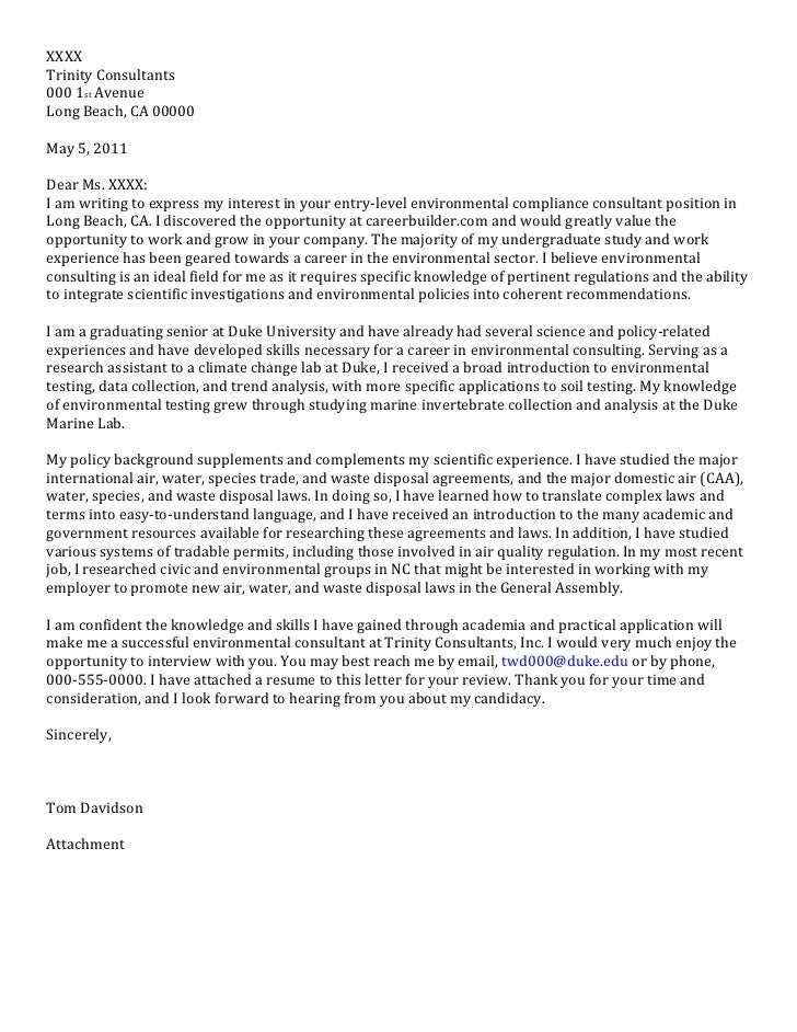 Consulting Cover Letter Sample