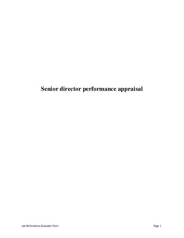 Senior Director Perfomance Appraisal