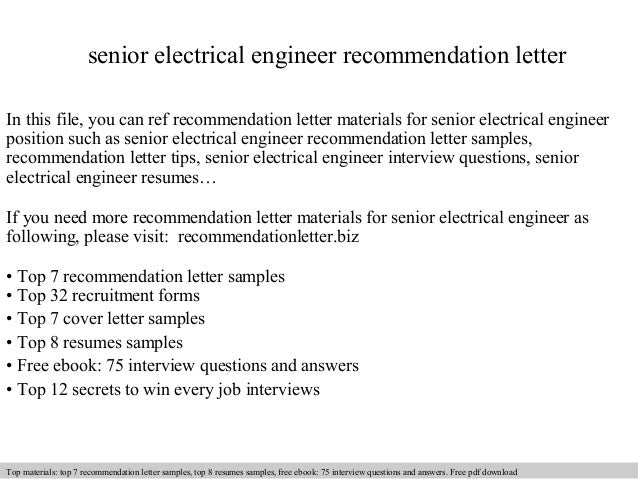 Senior Electrical Engineer Recommendation Letter In This File, You Can Ref  Recommendation Letter Materials For ...
