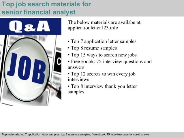 Senior Financial Analyst Application Letter