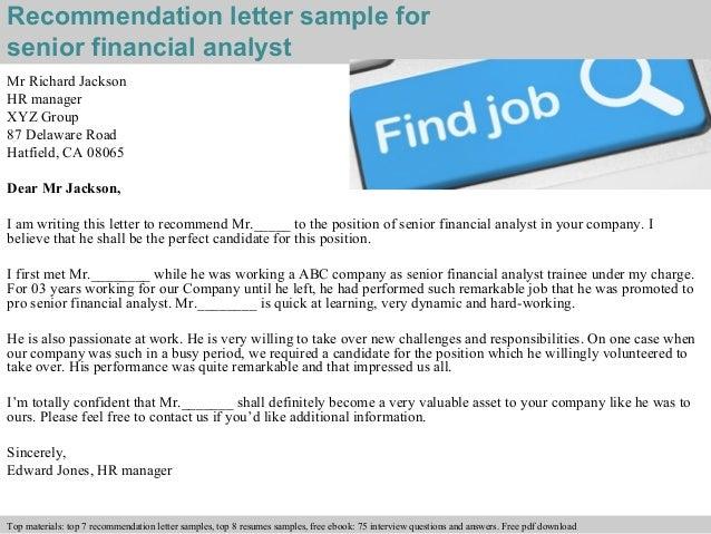Financial Recommendation Letter Sample