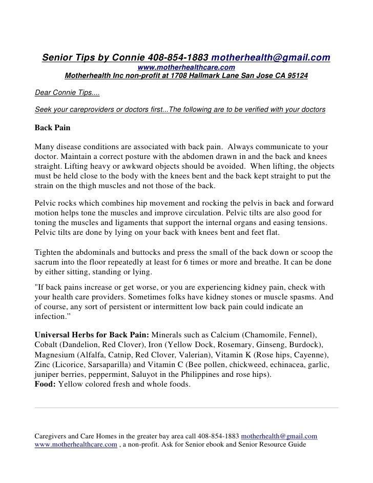 Senior Tips by Connie 408-854-1883 motherhealth@gmail.com                              www.motherhealthcare.com          M...