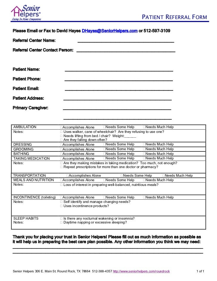 Senior helpers client referral form for Referral document template