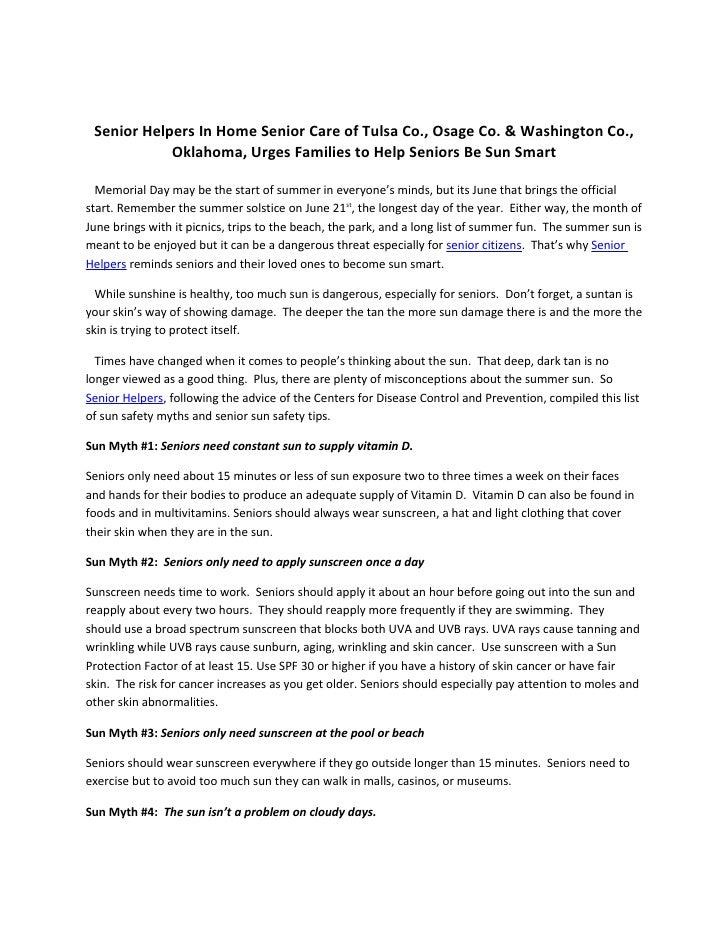 Senior Helpers In Home Senior Care of Tulsa Co., Osage Co. & Washington Co.,             Oklahoma, Urges Families to Help ...