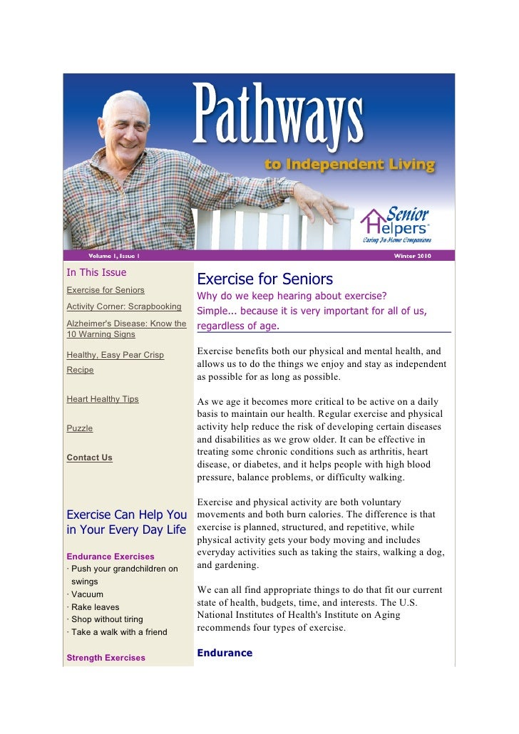In This Issue                                 Exercise for Seniors Exercise for Seniors                                 Wh...