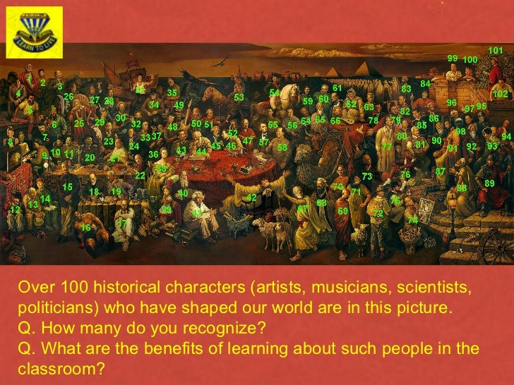 Over 100 historical characters (artists, musicians, scientists, politicians) who have shaped our world are in this picture...
