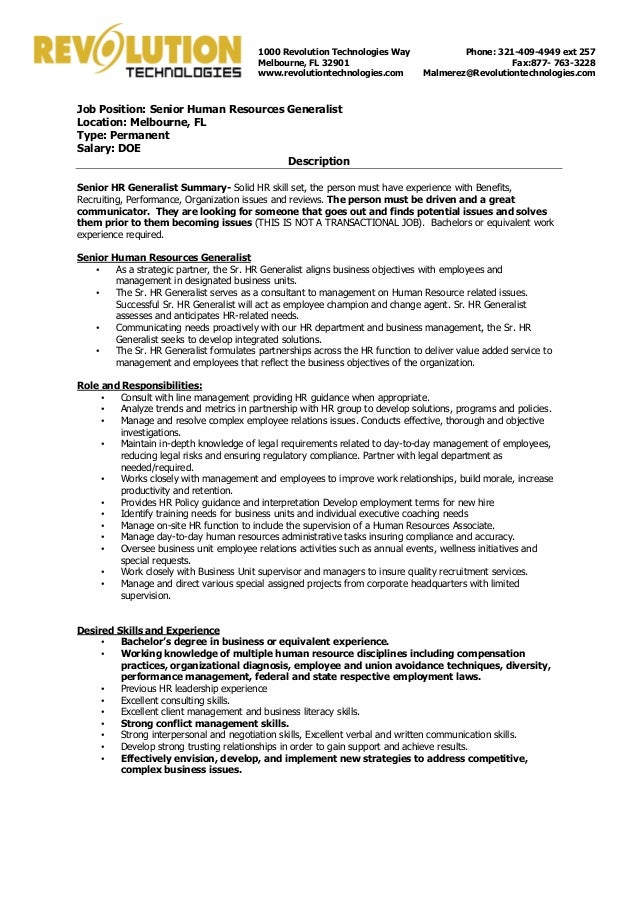 senior hr generalist position open