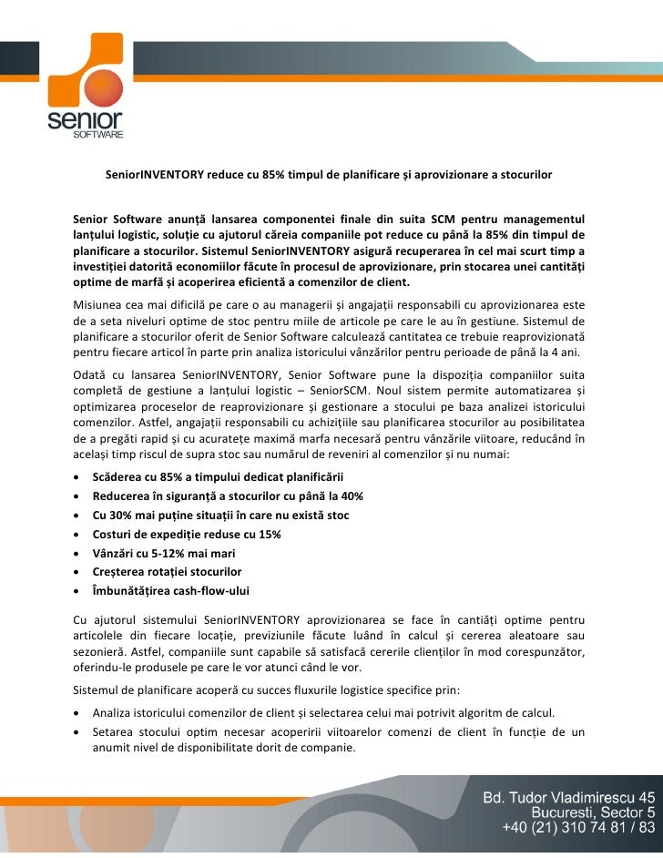 SeniorINVENTORY reduce cu 85% timpul de planificare și aprovizionare a stocurilorSenior Software anunță lansarea component...