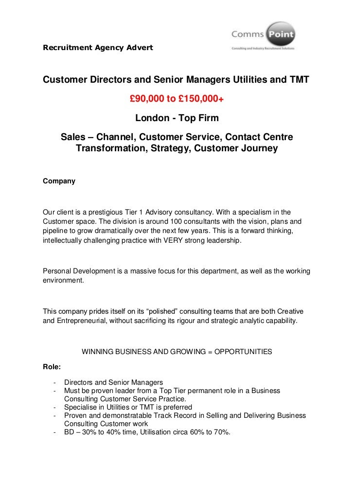 Recruitment Agency AdvertCustomer Directors and Senior Managers Utilities and TMT                            £90,000 to £1...