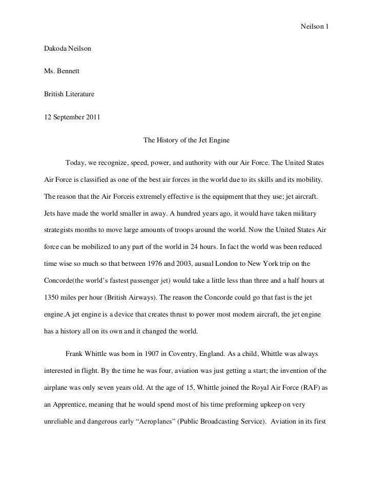 Neilson 1Dakoda NeilsonMs. BennettBritish Literature12 September 2011                                    The History of th...