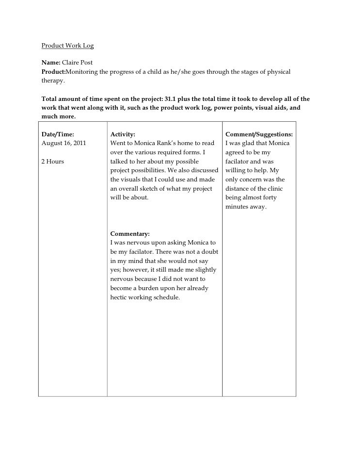 Product Work LogName: Claire PostProduct:Monitoring the progress of a child as he/she goes through the stages of physicalt...