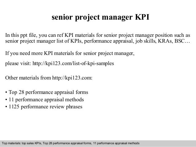 senior project manager KPI  In this ppt file, you can ref KPI materials for senior project manager position such as  senio...