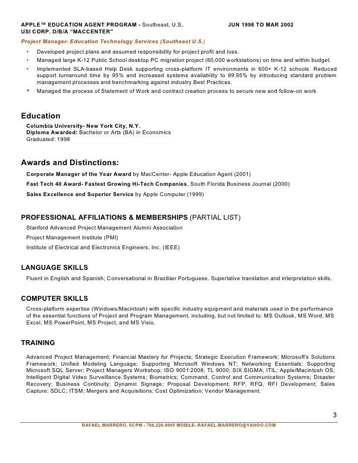 Senior Project Manager Rafael Marrero Aug2010 Linkedin Miami Fl