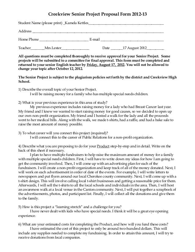creekview senior project proposal form 2012 13student name please print _kamela kettles_________________________________