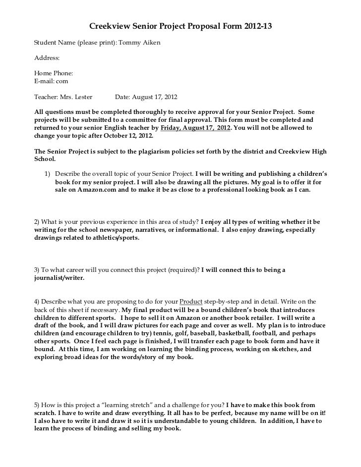 Creekview Senior Project Proposal Form 2012 13Student Name (please Print):  Tommy AikenAddress ...  Professional Project Proposal
